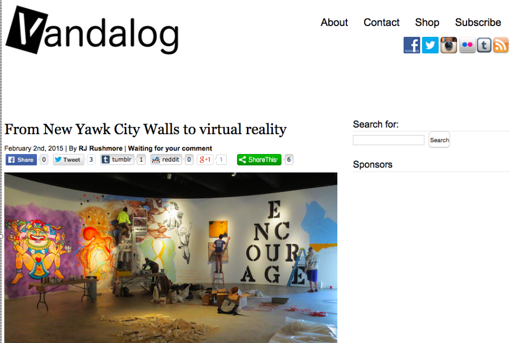 Vandalog – A Viral Art and Street Art Blog » From New Yawk City Walls to virtual reality copy