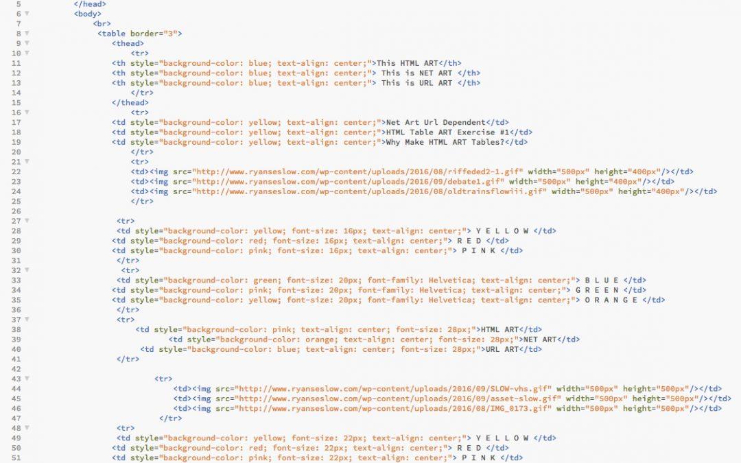 HTML Source Code to NET ART #1